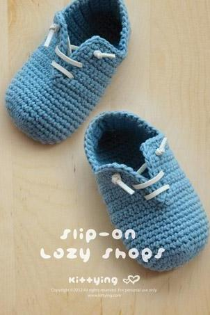 Crochet PATTERN Slip-On Baby Lazy Shoes Crochet PATTERN, PDF - Chart & Written Pattern by kittying