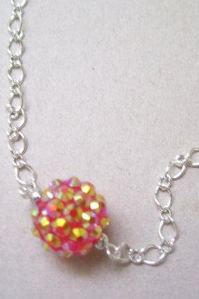FireBall Resin Charm on Silver Plated Oval Rolo Chain