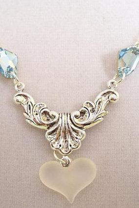 Crystal Blue Ice Queen Silver Necklace
