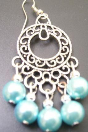 Sea Blue Chandelier Earrings