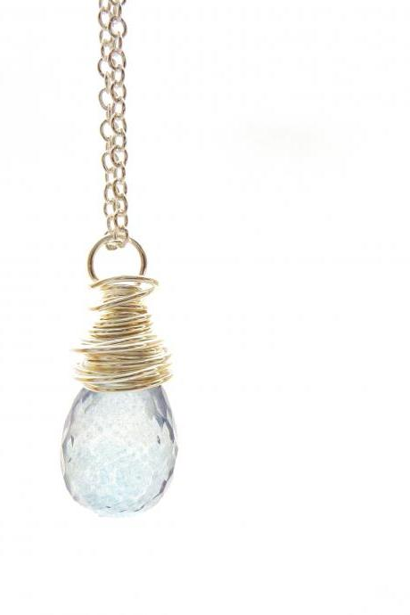Wire Wrapped Blue Quartz Necklace in Sterling Silver
