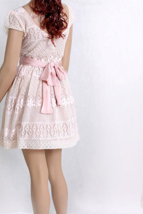 Party /peach pink / bridesmaid / party/romantic / cotton lace dress