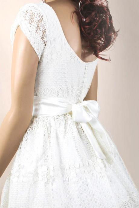 Ivory romantic bridesmaid / evening / lace cotton dress