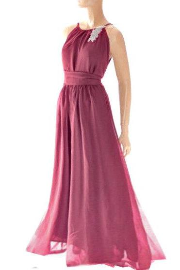 Maxi Dark red /burgundy/ chiffon bridesmaid / evening / party / dress