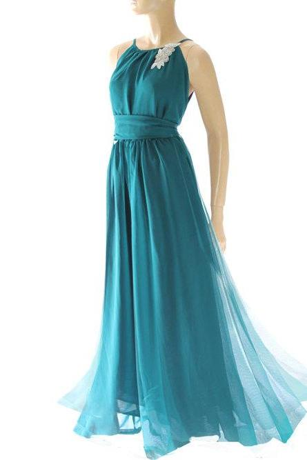 Maxi /eucalyptus green/ chiffon /bridesmaid/ evening / party/ dress