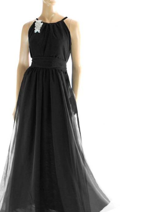 Maxi Black chiffon bridesmaid / evening /prom/ party dress