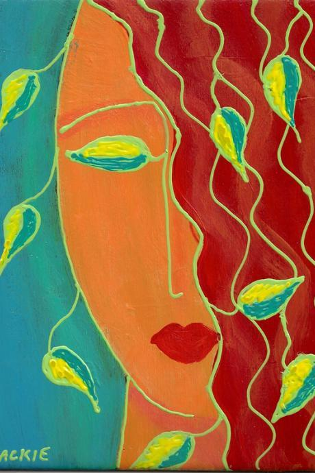 Hand Painted Tile Abstract Acrylic Painting of a Woman