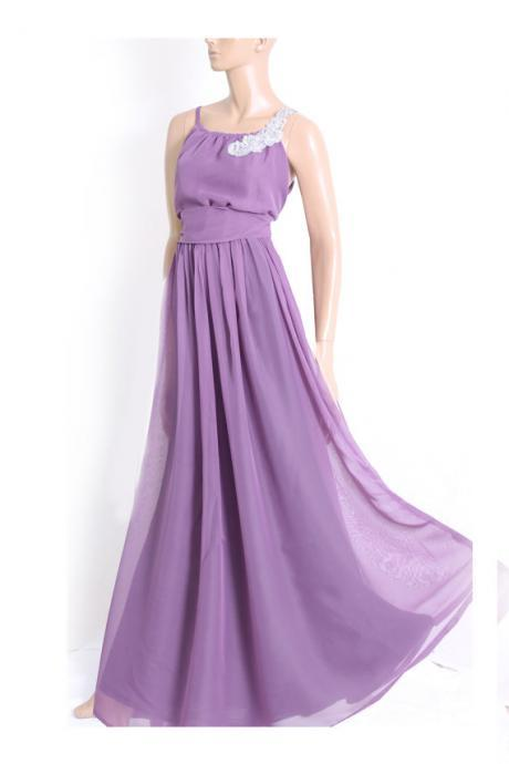 Maxi violet / chiffon bridesmaid / evening / party / dress