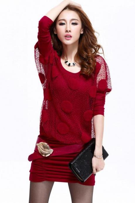New autumn Sexy women's fashion long-sleeve dress-Red