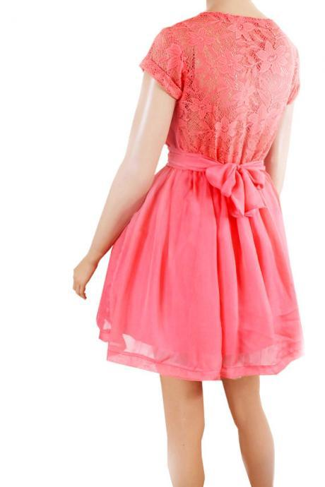 Coral Bridesmaid / Wedding Party / Cocktail / Evening/ Graduation lace,chiffon dress