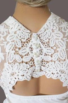 Bridal Ivory handmade shrug jacket lace wedding bolero