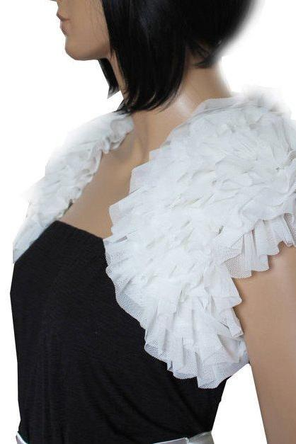 Bridal White fluffy ruffles shrug jacket wedding bolero