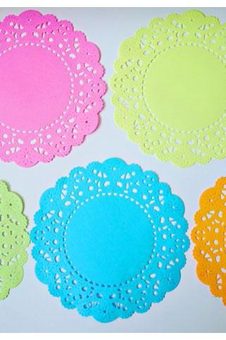 Fluorescent colored English Doily paper / pack for cardmaking, party decoration, scrapbooking