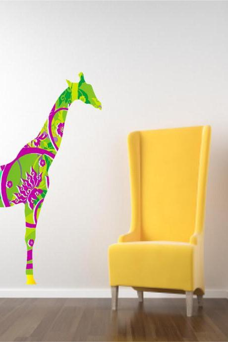 Kids Decor Giraffe Wall Decal in Bright Tropical Colors