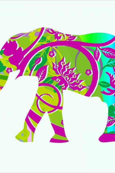 Nursery Decor Elephant in Tropical Colors Fabric Wall Decals