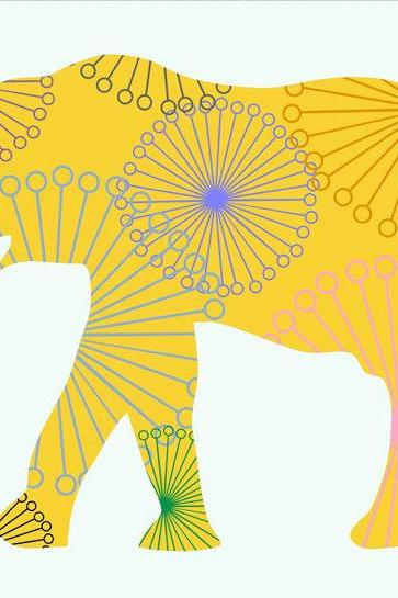Nursery Decor Yellow Elephant Fabric Wall Decals