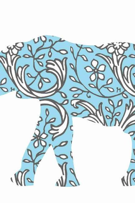 Nursery Decor Blue Floral Elephant Fabric Wall Decals