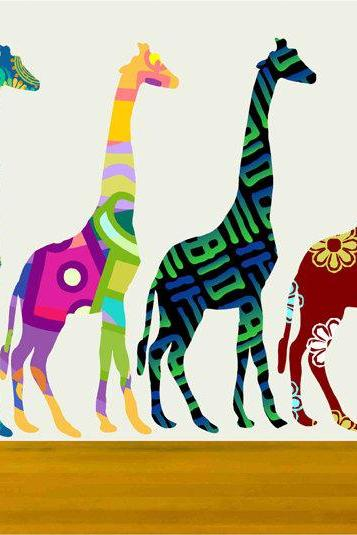 Colorful Giraffe Set Wall Decals Stickers