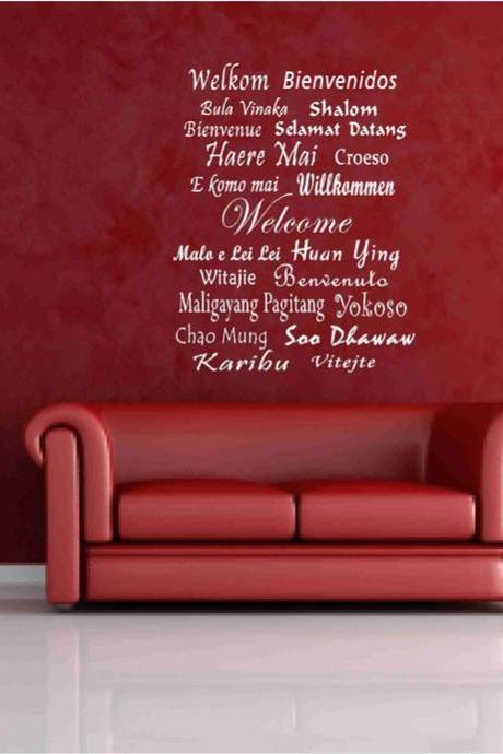 Welcome decals in different languages Vinyl Wall Sticker