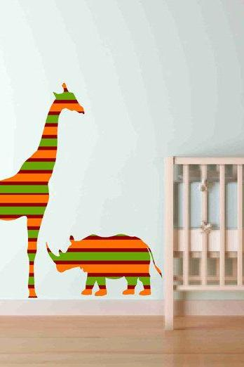 Nursery Decor Elephant Giraffe Rhinoceros Fabric Wall Decals