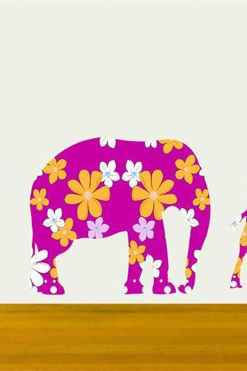 Kids Wall Decals Bright Pink Giraffe Elephant Flamingo Set