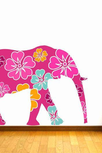 Floral Pink Elephant Fabric Wall Decals