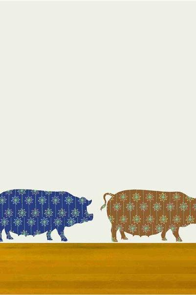 Cute pigs fabric wall decals for Baby Nursery
