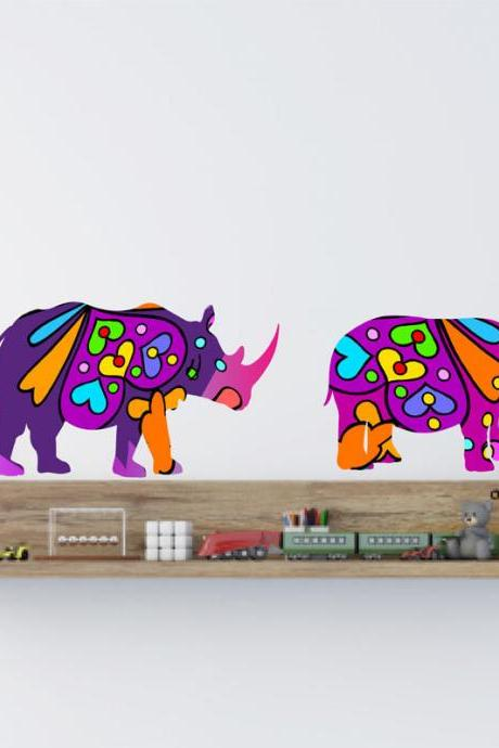 Colorful Hippo and Rhino Fabric Wall Decals