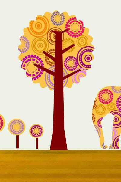 Children Nursery Wall Decals Elephant and Tree Wall Decor