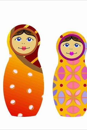 Cute Matryoshka Nesting Dolls Fabric Wall Decals for Children