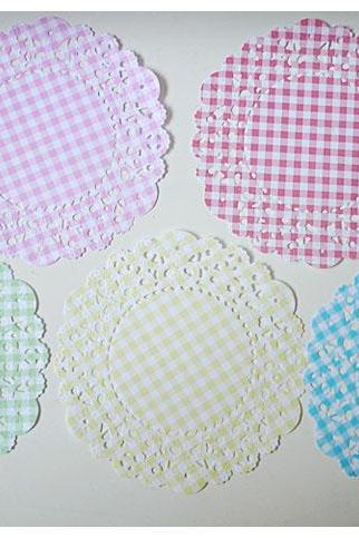 Gingham English Doily paper / pack for cardmaking, party decoration, scrapbooking