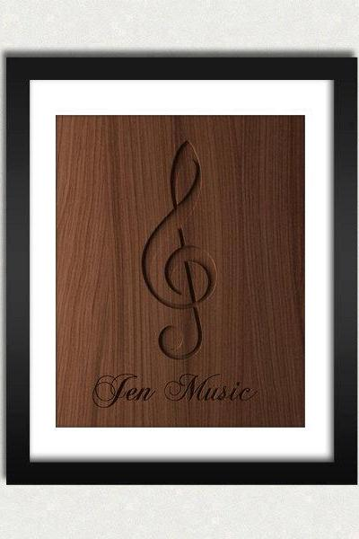 Personalized Music Sign Wood Engraved Sign Printable - Digital Download - Size 8x10 - Perfect Gift Idea