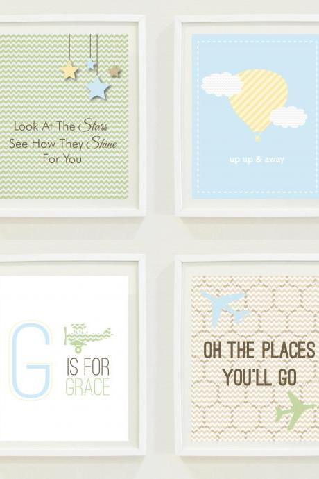 Nursery Prints: Stars and Sky - Travel Nursery - Oh The Places You'll Go - Hot Air Balloon-Up and Away - Monogram -Home Decor- Gallery Wall - Kids Room - Airplane - Digital
