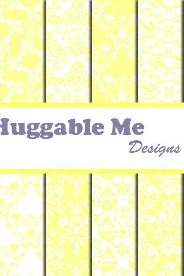 Yellow Damask Digital Paper - Light Yellow Damask Paper for Digital Backgrounds, Scrapbook, Wedding, Cards 12x12 - HMD00077