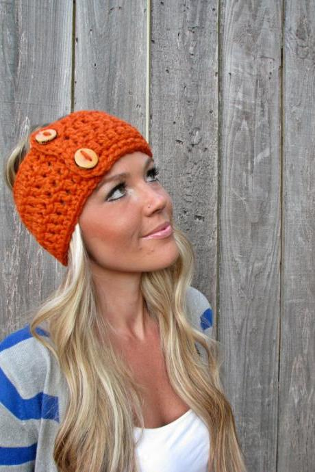 Lamb's Wool Collection - Multi Ways to Wear - Plush Wool Wrap/Neckwarmer In Orange w/Handmade Reclaimed Wood Buttons-Adjustable Unisex