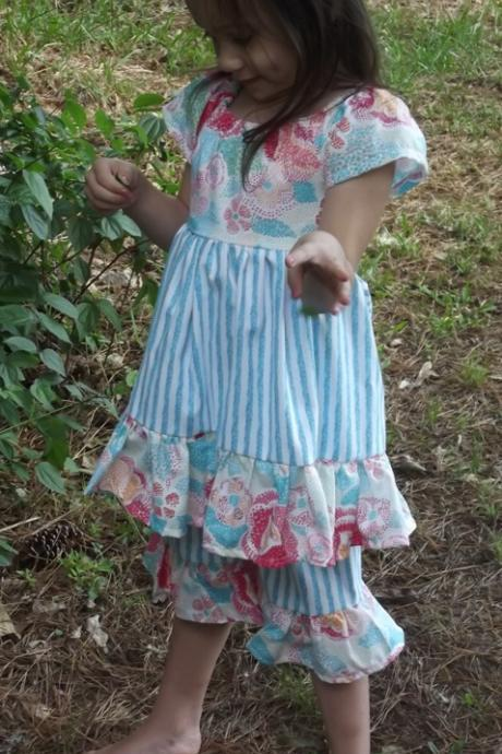 Girls Peasant Dress with Long Ruffled Shorts