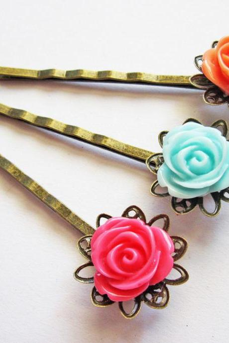 flower bobby pins set hair pins, rose hair pin flower bobby pin set, flower hair accessories hair pins set, set of three, 3 hair pins, pink