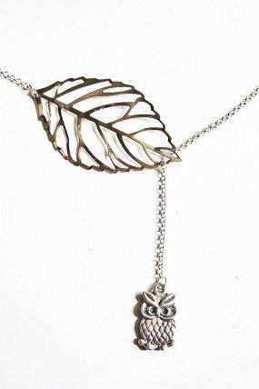 Owl Necklace, Lariat Necklace, Branch Necklace, Leaf Pendant Jewelry, Owl Jewelry, Skeleton Leaf Jewelry, On Silver Plated Chain