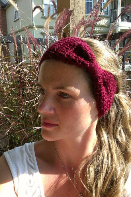 Crochet Head Warmer Burgundy Do Bop Darling