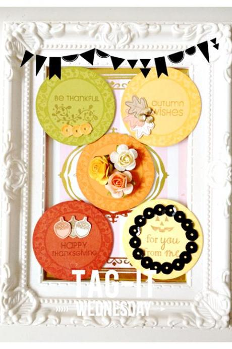 12pcs Round Thanksgiving circle Tags
