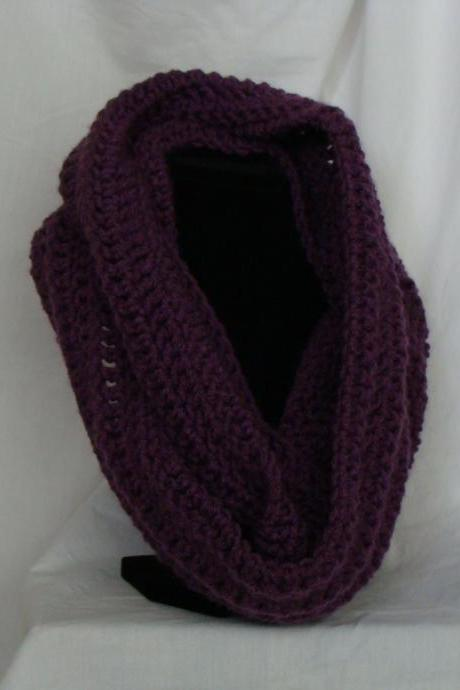Crochet Infinity Scarf Purple Plum