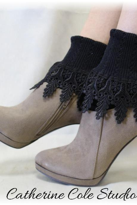 My SIGNATURE Lace Sock in Black Noir, Splendor and luxury for your feet, my exclusive design, Made in America by Catherine Cole Studio SLC2
