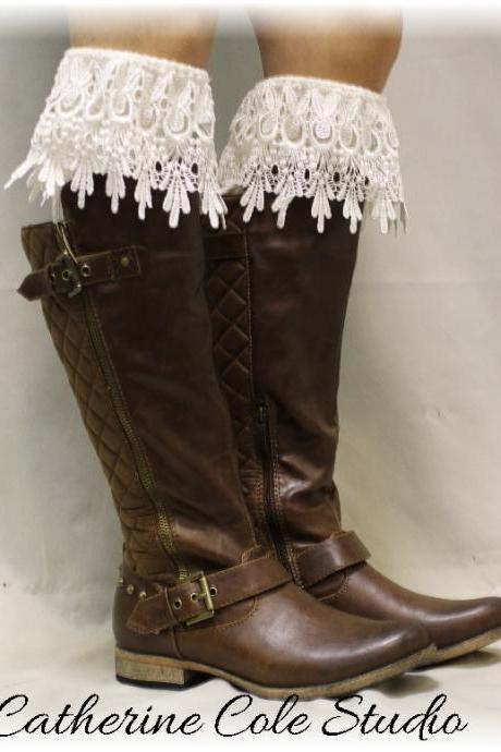 DIVINE ELEGANCE in Ivory, Laciest, most Elegant lace boot sock ever, a Wow factor boot sock, Made in America by Catherine Cole Studio BKS3