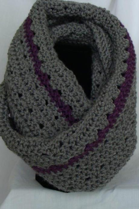 Crochet Infinity Scarf Smokey Grey and Purple Plum