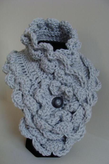 Crochet Ruffled Scarflette Cloud Nine