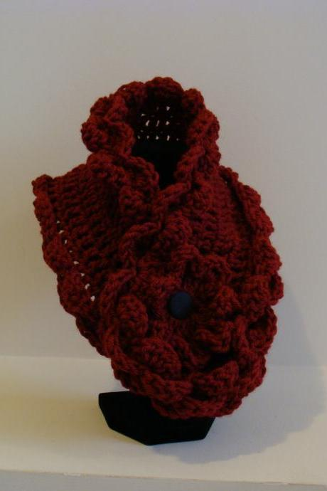 Crochet Ruffled Scarflette Burgundy Cloud Nine
