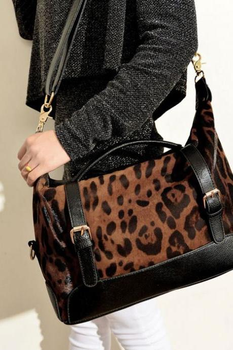 Unique Black Leopard Printed Handbag