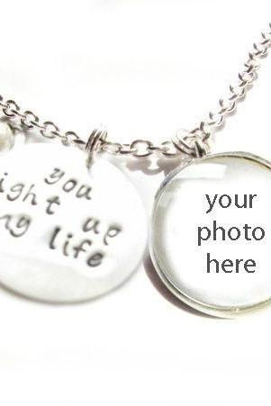 You light up my life Necklace Personalized Hand Stamped Pendant & Your Photo Glass silver Pendant Keepsake Memorial Gift Mother daughter