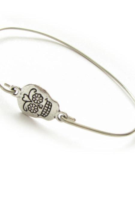 Sugar Skull Bangle Bracelet Wire Wrapped bracelet gift birthday sister mother friend