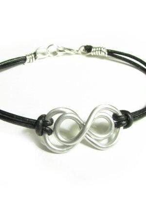 Double Infinity Bracelet Wire Wrapped Black Leather Suede Jewelry